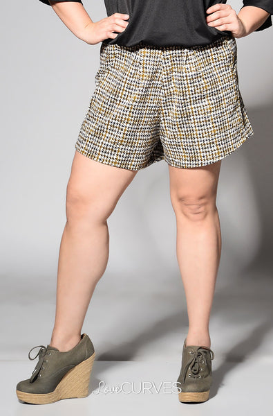 Basic Shorts with Pockets - Camo Houndstooth - FLO