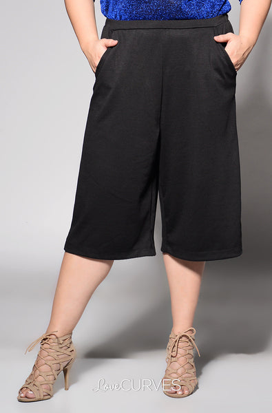 Basic Culottes with Side Pockets - Black - REE