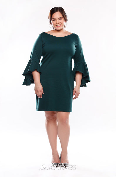 Asymmetrical Flare Sleeves Sheath Dress - Dark Green- KDR