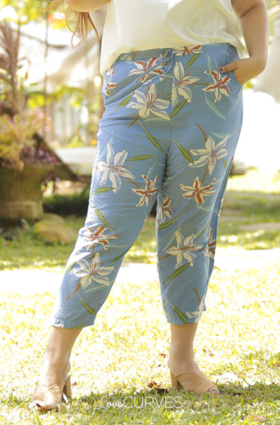 Drawstring Cropped Pants -  Powder Blue Lilies