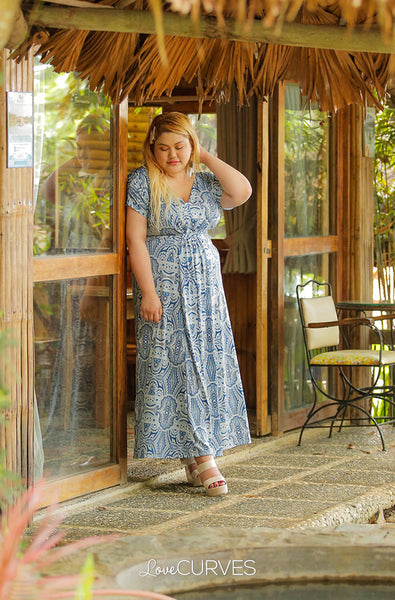 Front Knot Paneled Maxi Dress - Morris Blue