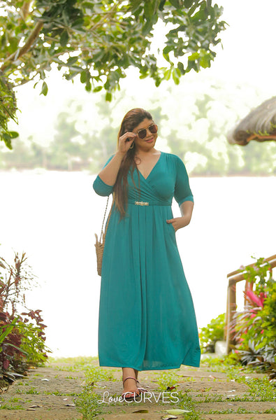 Pleated Wrap Maxi Dress with Charm Belt - Sea Green