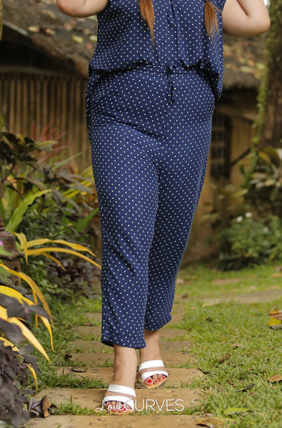 Drawstring Cropped Pants -  Polka Blue