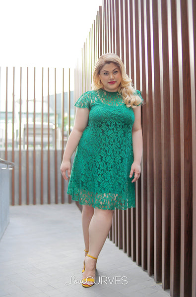 Short Lace Dress with Inner Chemise - Emerald