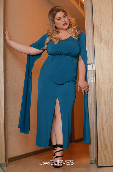 Front Slit Cape Maxi Dress - Dark Teal