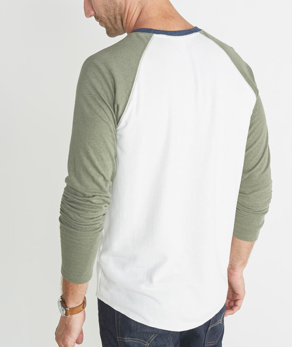Double Knit Baseball Raglan in Cream & Admiral Green