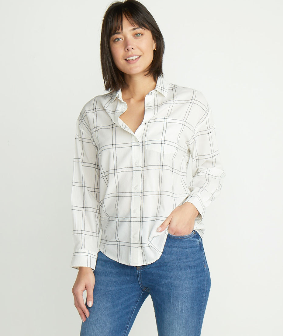 Madison Boyfriend Button Down in Black Windowpane