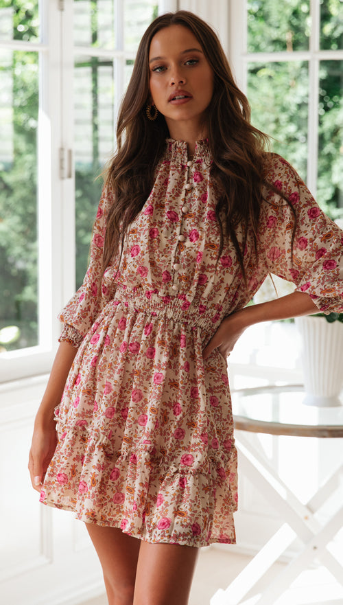 Fresia Dress (Pink Floral)