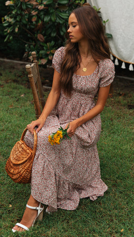 Away With Me Dress (Beige Floral)
