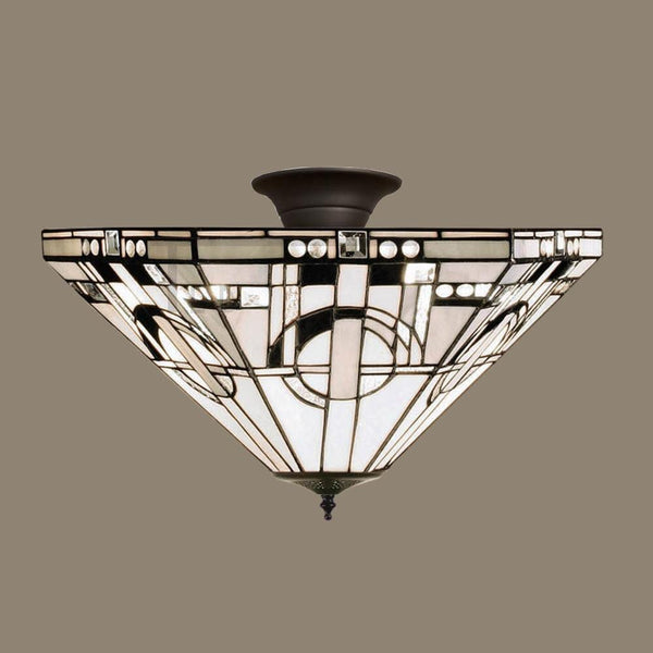 Tiffany Ceiling Flush & Semi Flush Lights - Metropolitan Medium Tiffany Semi Flush Ceiling Light TM25M & SF01