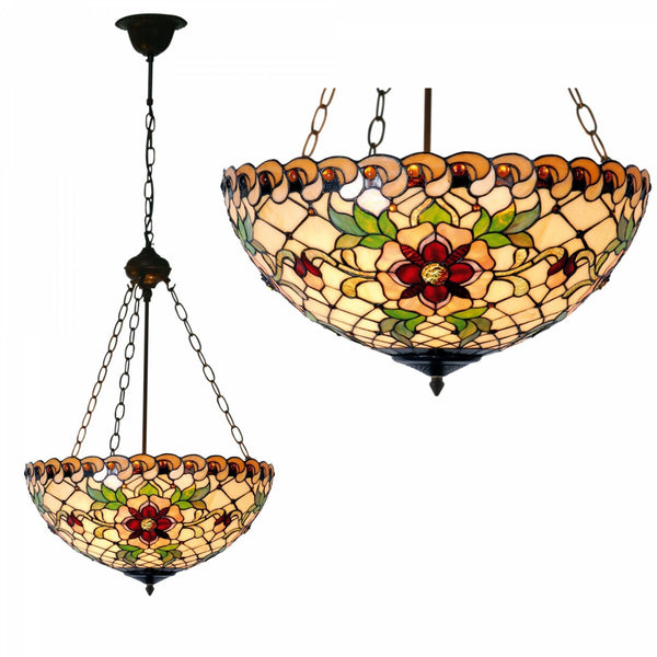 Tiffany Inverted Ceiling Pendant Lights - Angelique Tiffany Inverted Pendant Light