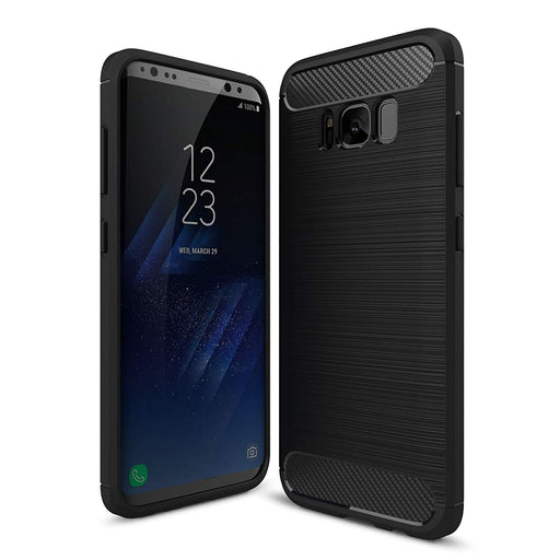 Ivencase Flexible Slim Rugged Silicone Case with Shock Absorption Carbon Fiber Design for Samsung Galaxy S8 Plus - Black