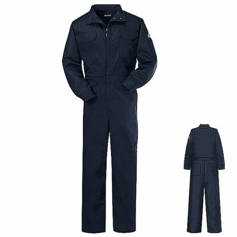 Bulwark Coveralls: Men's CEB2 NV Flame-Resistant Navy Blue Cotton Coveralls