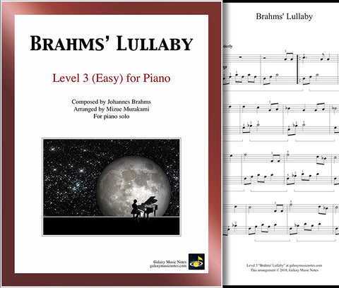 Brahms' Lullaby: Level 3 - Cover sheet & 1st page