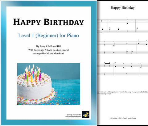 Happy Birthday Level 1 - Cover sheet & 1st piano sheet