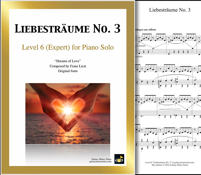 Liebestraum No. 3: Level 6 - 1st piano page & cover