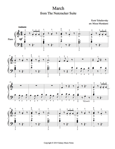 March from The Nutcracker: Level 2 - 1st piano music sheet