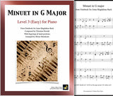Minuet in G Major Level 3 - Cover sheet & 1st page