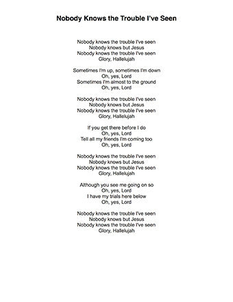 Nobody Knows Trouble I've Seen - Lyrics page
