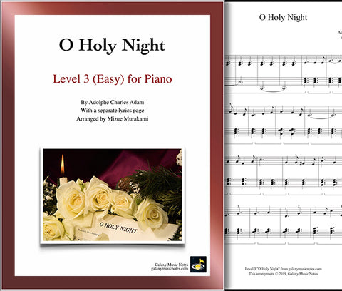 O Holy Night: Level 3 - 1st piano page & cover