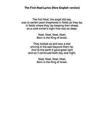 The First Noel - Lyrics page