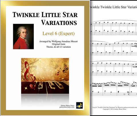 Twinkle Little Star Variations: Level 6 - 1st piano sheet & cover
