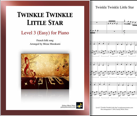 Twinkle Twinkle Little Star: Level 3 - 1st piano sheet & cover