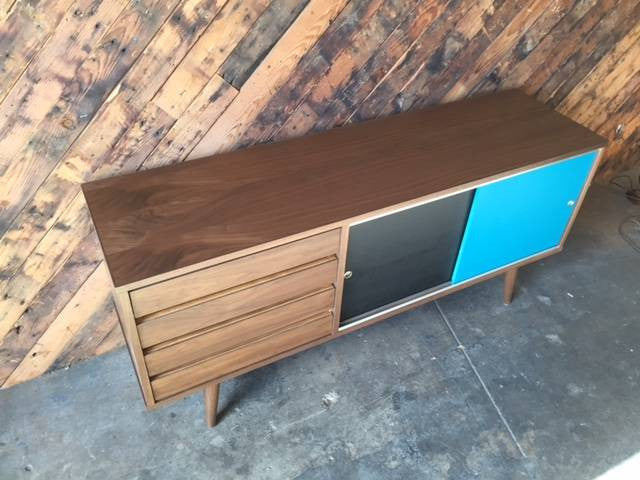 Mid Century Style Custom Small Credenza with 4 drawers and painted doors