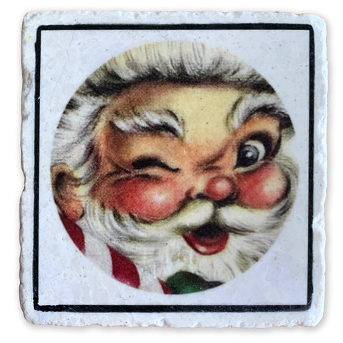 "Good Old St. Nick, Santa Claus on 4""x4"" Tumbled Marble Tile"