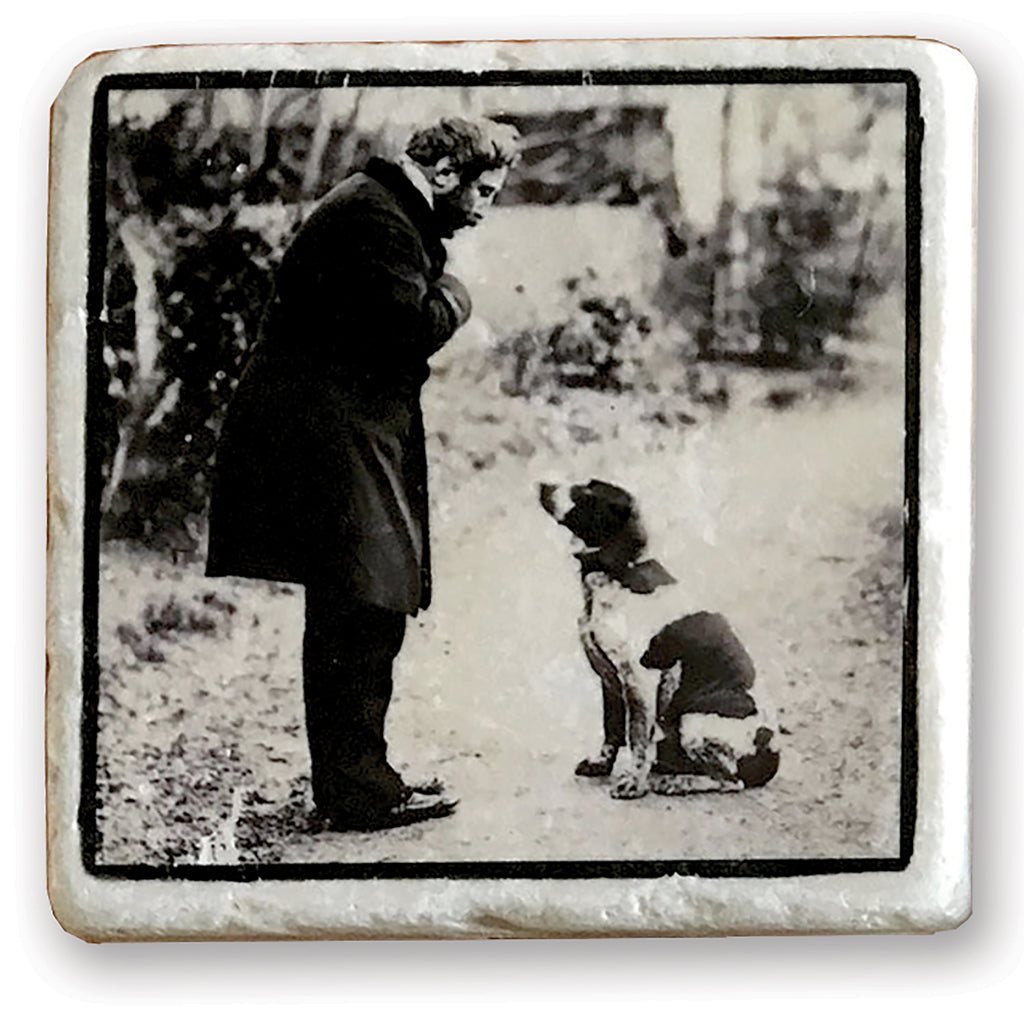 "Good Dog - Vintage Dog Image on 4""x4"" Marble Tile"