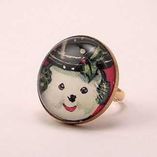 Big Snowman Winter Holiday Jewelry Cocktail Ring