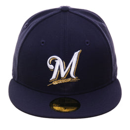 Exclusive New Era 59Fifty Milwaukee Brewers Game Hat - Navy