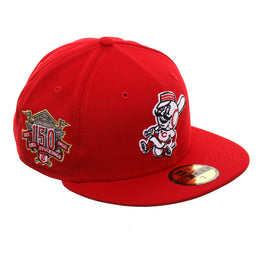 Exclusive New Era 59Fifty Cincinnati Reds Mr. Red 150th Anniversary Patch Hat - Red