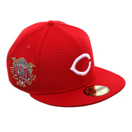 Exclusive New Era 59Fifty Cincinnati Reds 150th Anniversary Patch Hat - Red