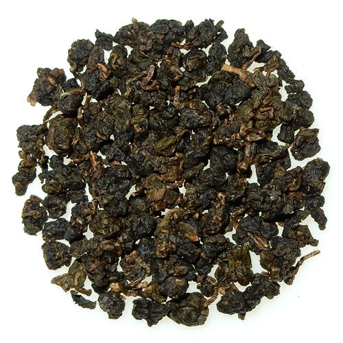 Dong Ding Dark Roast Taiwanese Oolong, dark green and tightly rolled