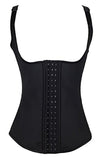 Latex Waist Trainer Vest - Adjustable Strap - Black
