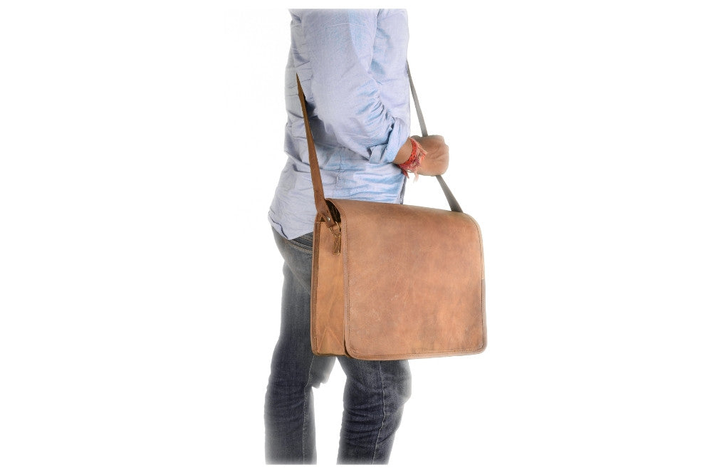 "Vintage 10"" Inch Leather Handmade Office Bag Macbook Laptop Messenger Bag For Man Woman And Student"