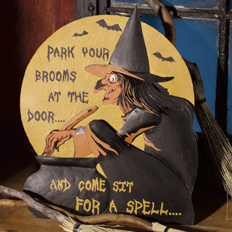 Park Your Brooms Tin Sign
