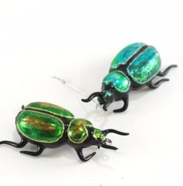 Blue & Green Beetle Ornaments - Anthropology Christmas Tree