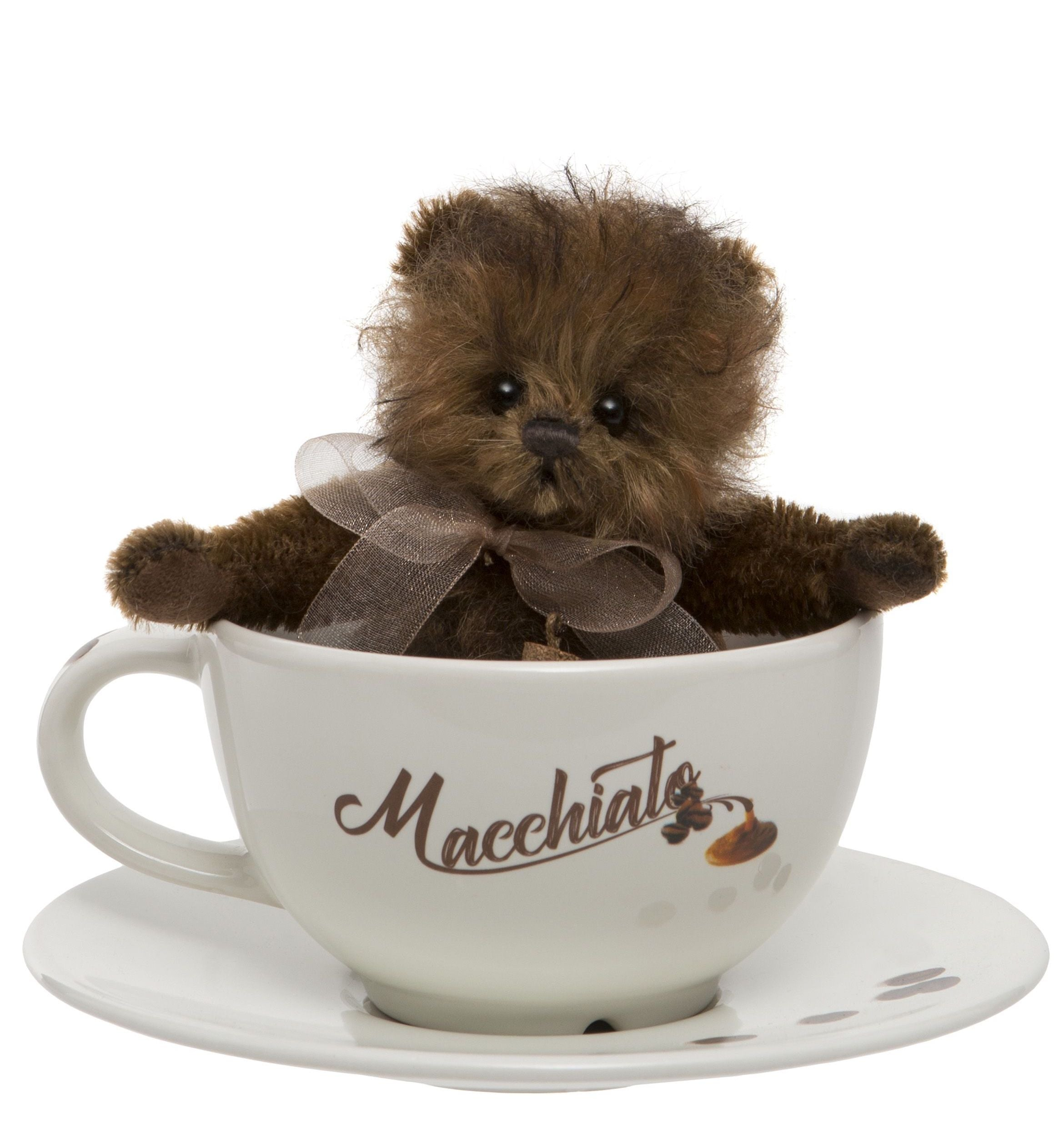 Charlie Bears Macchiato Teddy Bear Cup and Saucer Gift Set