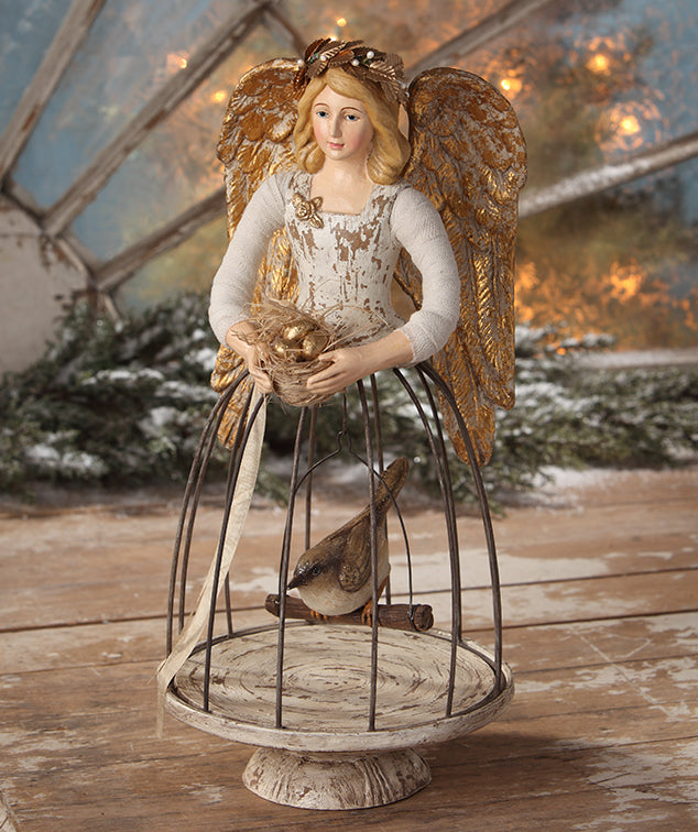 Angel with Bird Cage and Nest of Gold Eggs