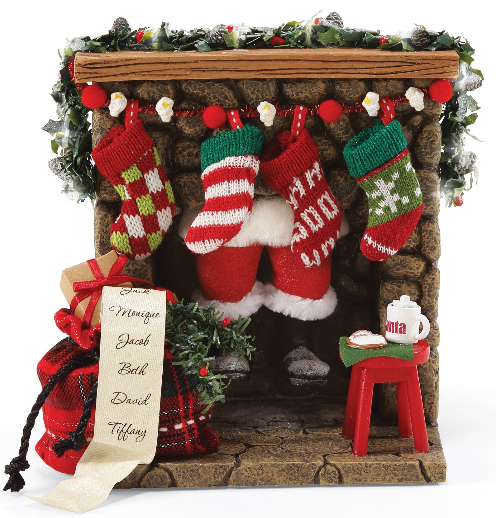 Christmas Fireplace Prop, Santa Down the Chimney with Moving Legs