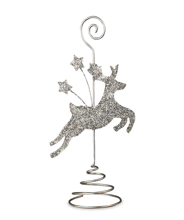 Platinum Reindeer Place Card Holder with Glitter by Bethany Lowe