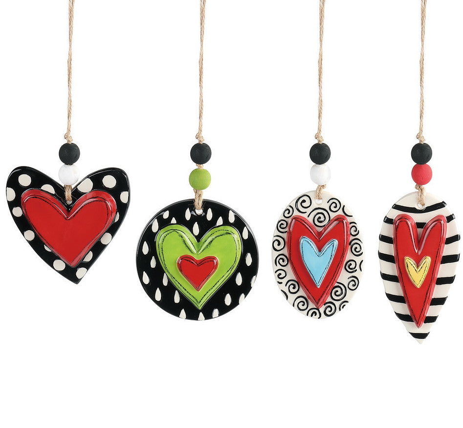 Whimsy Heart Ornaments, Stoneware with Hearts, Stripes and Dots