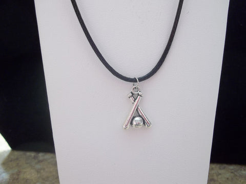 Black Leather Silver Baseball Bat Necklace (N404)