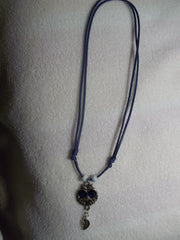 Adjustable Blue Cord Silver Blue Eye Owl w/silver Leaf Necklace (N783)