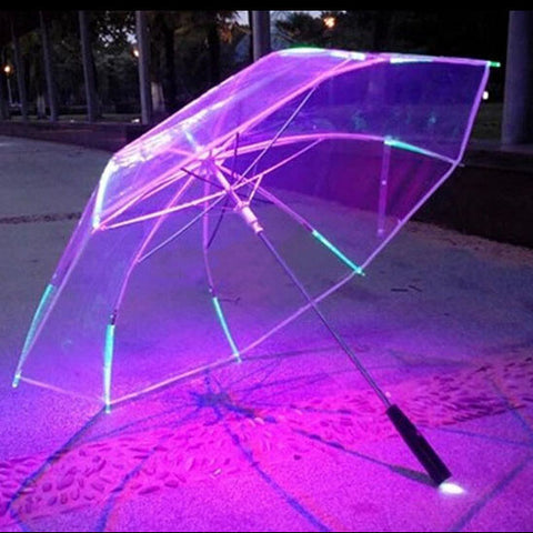 Led luminous transparent umbrella gift umbrella