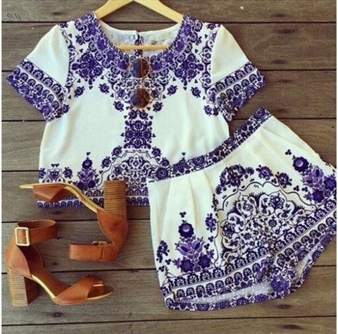 Fashion Retro Print Short Sleeve Shirt Shorts Set Two-Piece