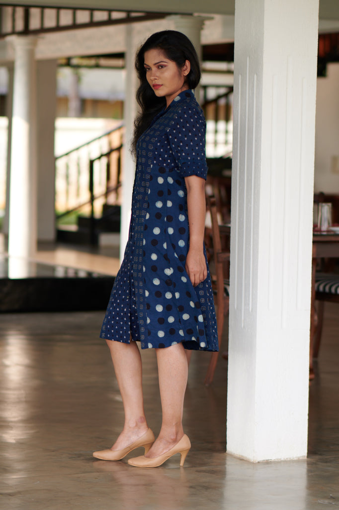 Indigo Bird Shirt Dress