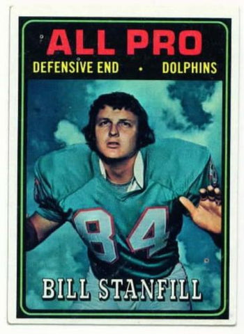 1974 Topps Bill Stanfill All Pro Miami Dolphins card - redrum comics